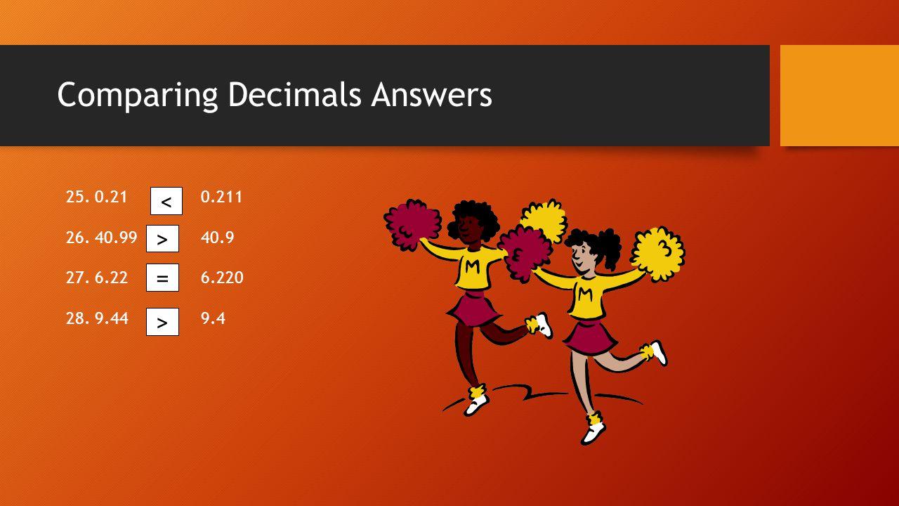Comparing Decimals Answers