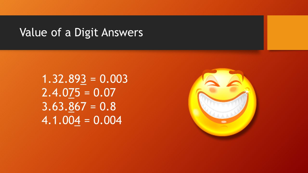 Value of a Digit Answers