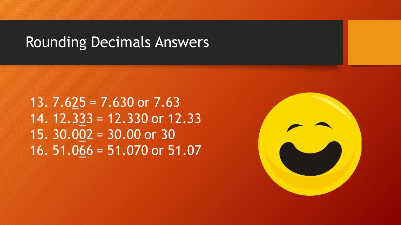 Rounding Decimals Answers