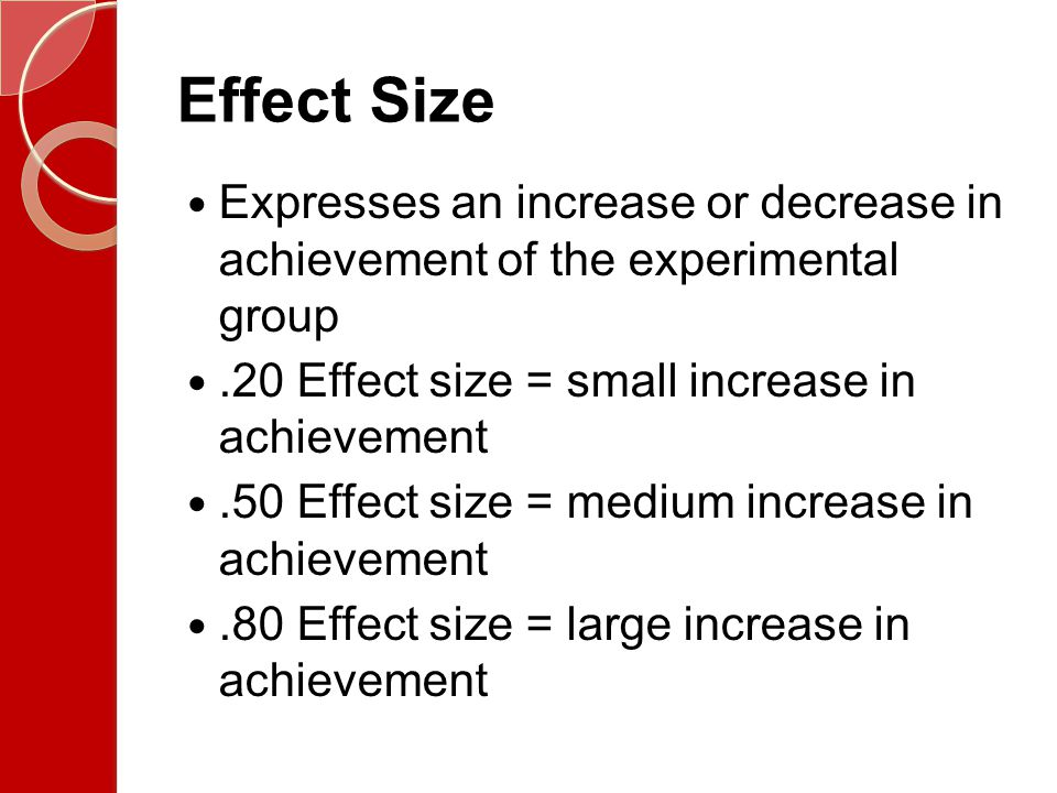 Effect Size Expresses an increase or decrease in achievement of the experimental group. .20 Effect size = small increase in achievement.
