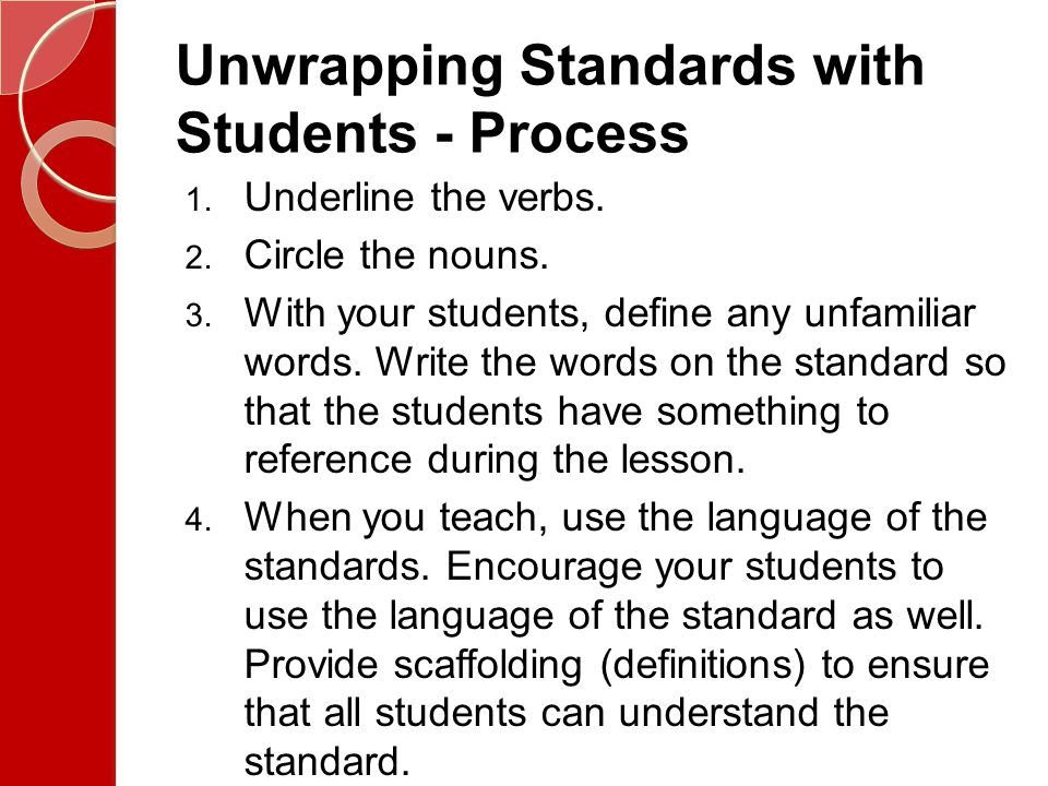 Unwrapping Standards with Students - Process