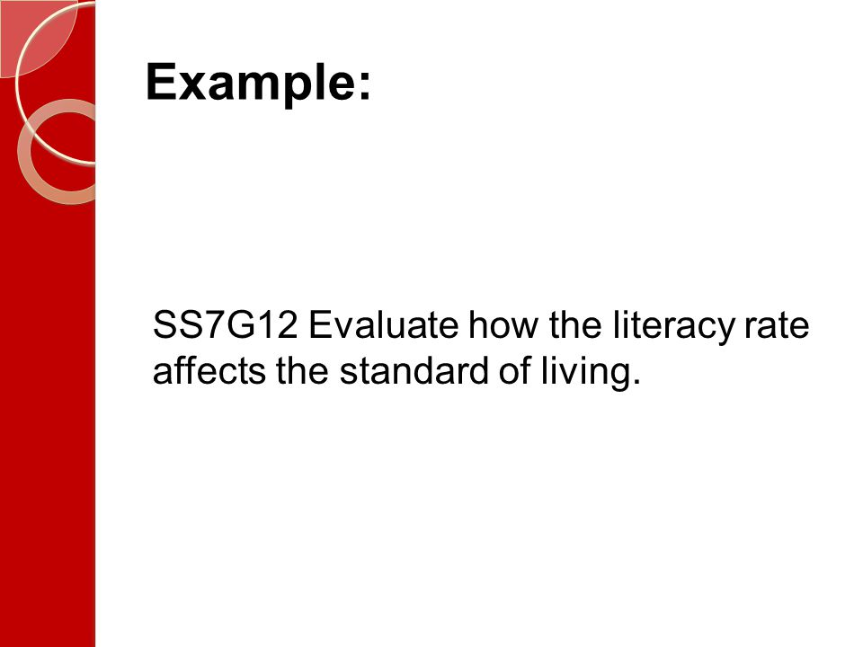 Example: SS7G12 Evaluate how the literacy rate affects the standard of living.