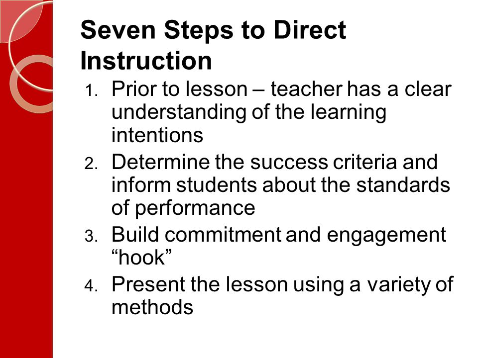 Seven Steps to Direct Instruction