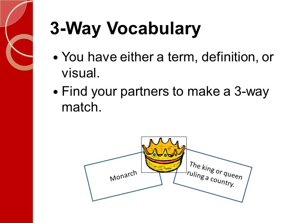 3-Way Vocabulary You have either a term, definition, or visual.