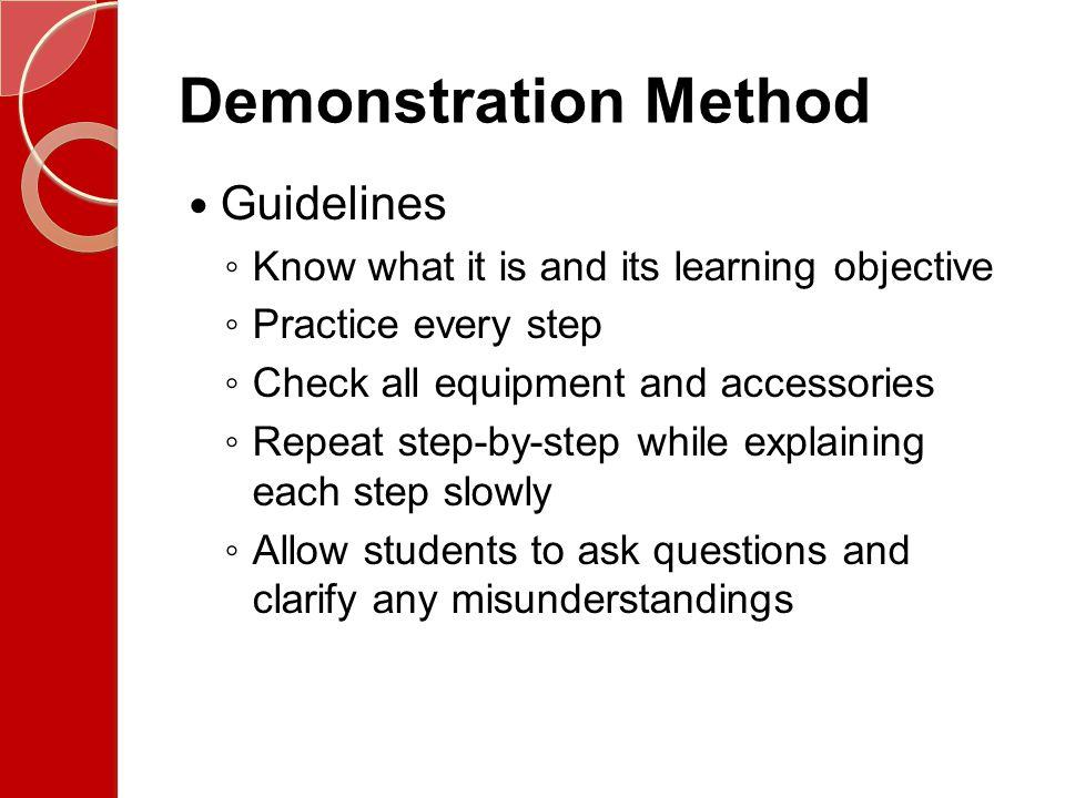 Demonstration Method Guidelines