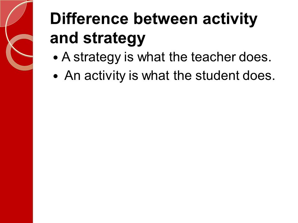 Difference between activity and strategy