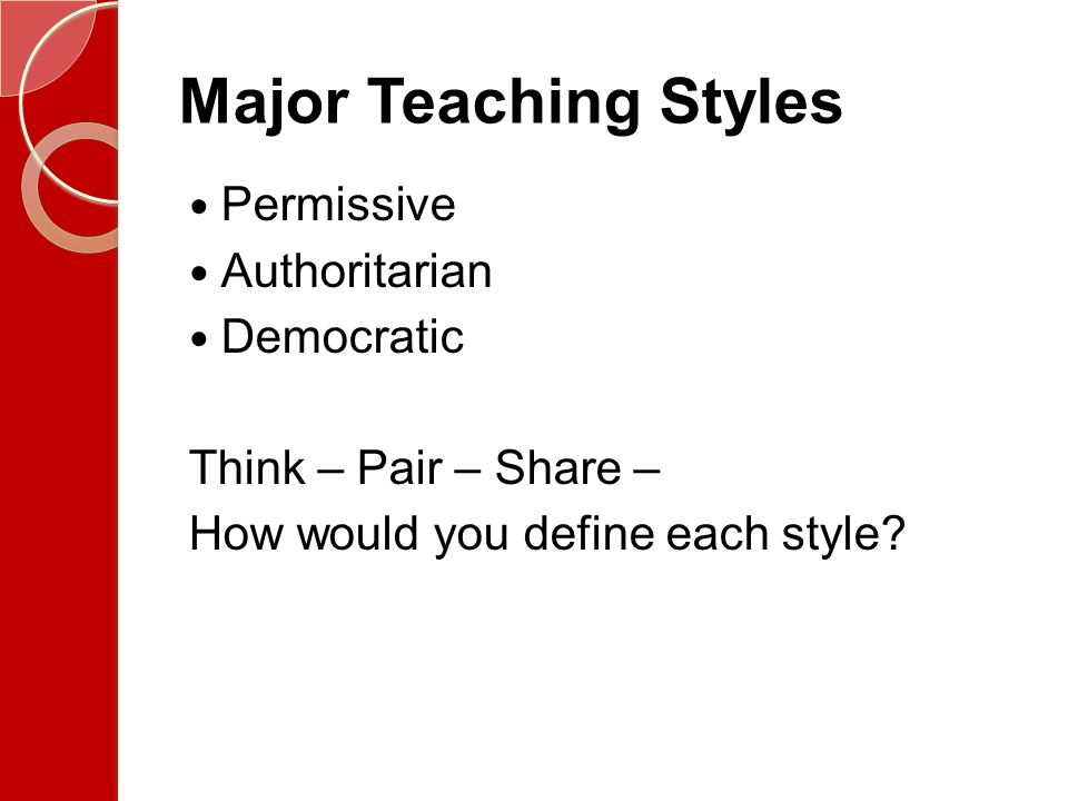 Major Teaching Styles Permissive Authoritarian Democratic