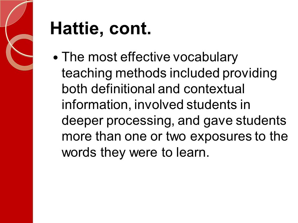 Hattie, cont.