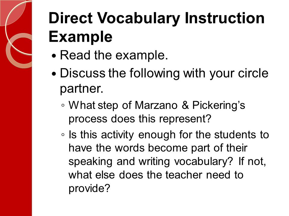 Direct Vocabulary Instruction Example