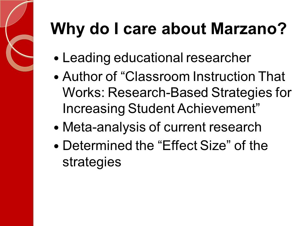 Why do I care about Marzano