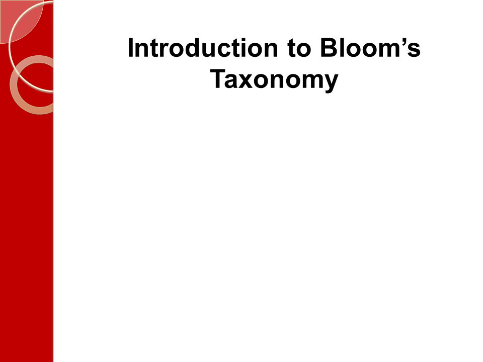 Introduction to Bloom's Taxonomy