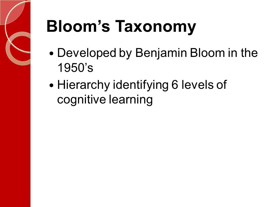 Bloom's Taxonomy Developed by Benjamin Bloom in the 1950's