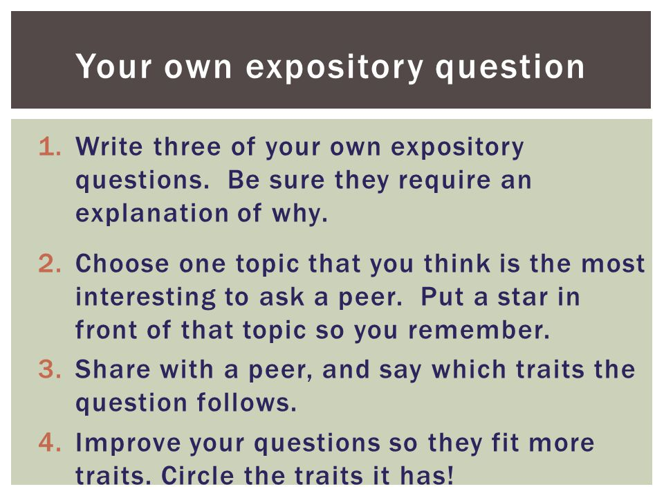 Your own expository question