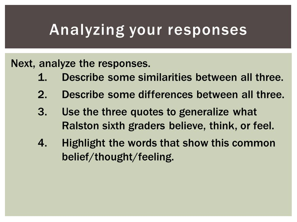 Analyzing your responses