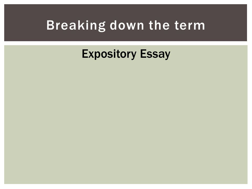 Breaking down the term Expository Essay
