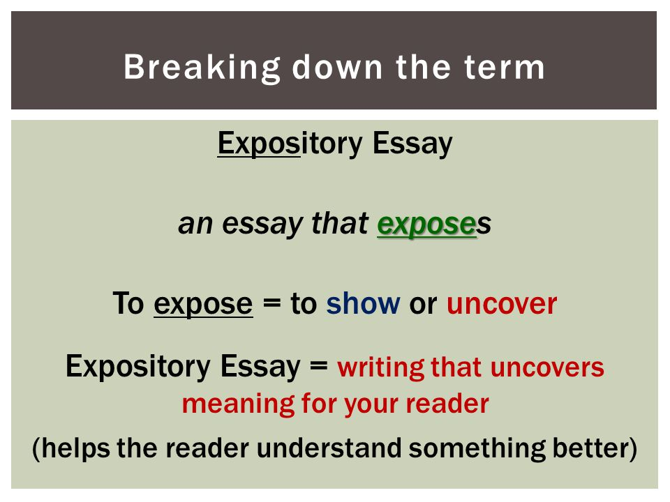 Breaking down the term Expository Essay an essay that exposes