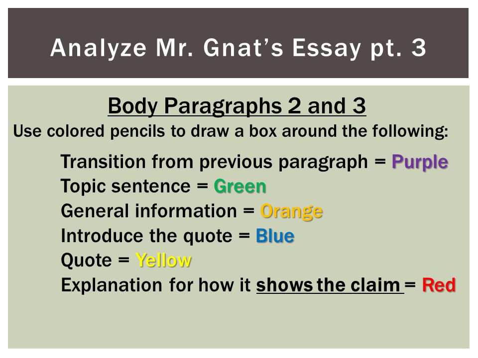 Analyze Mr. Gnat's Essay pt. 3