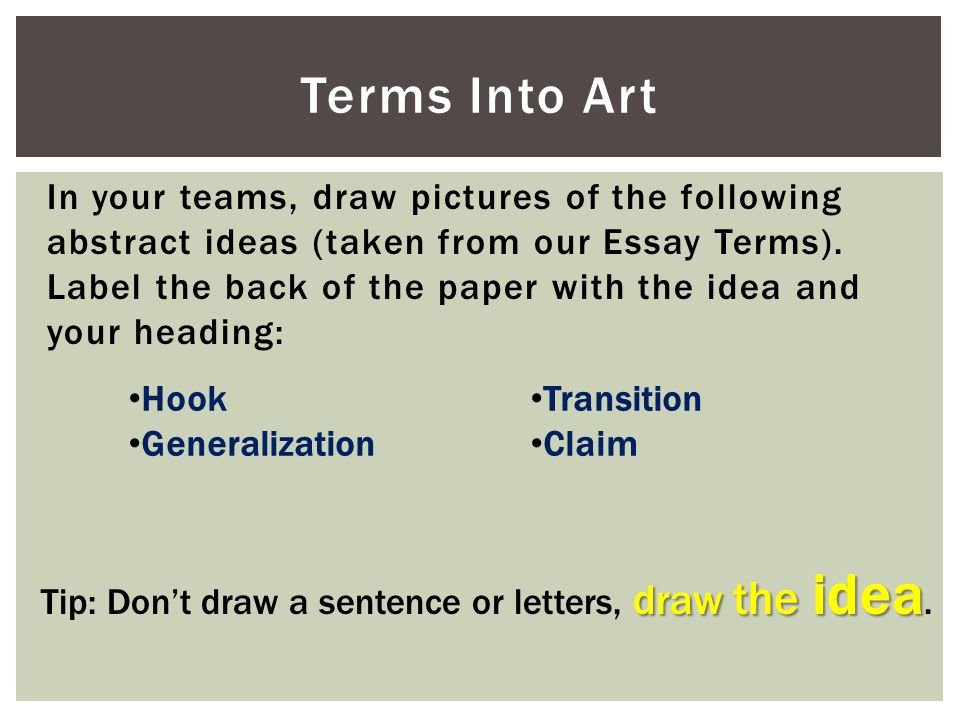 Tip: Don't draw a sentence or letters, draw the idea.