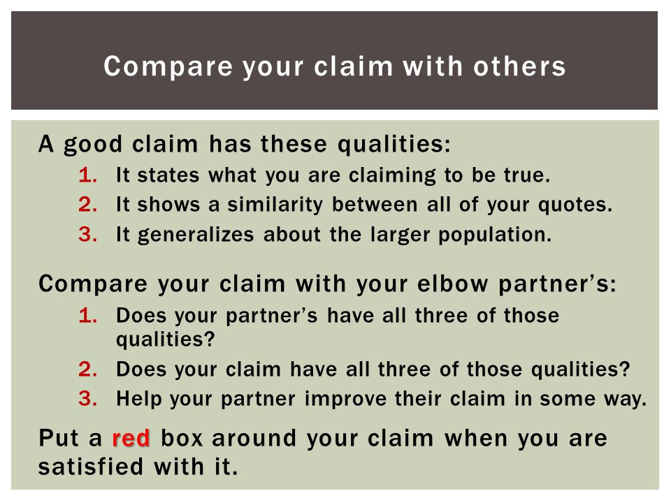 Compare your claim with others