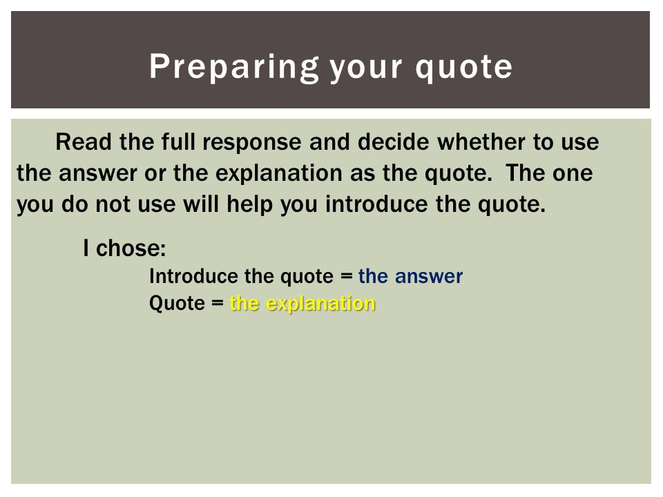 Preparing your quote