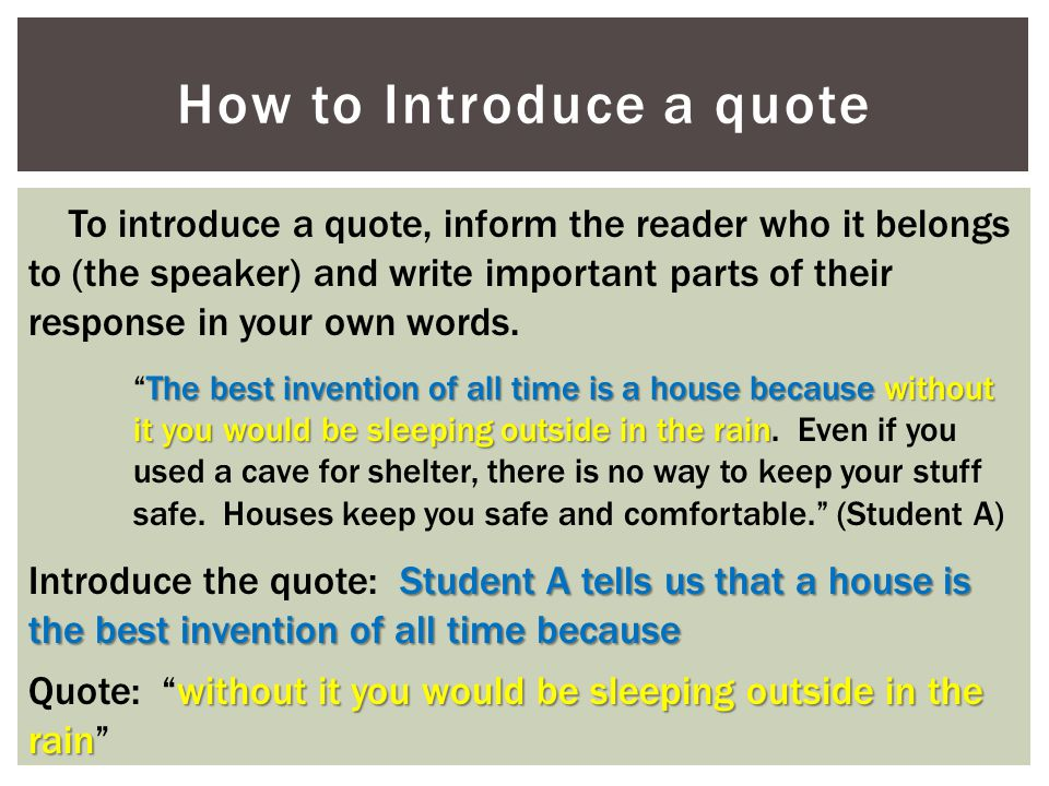 How to Introduce a quote