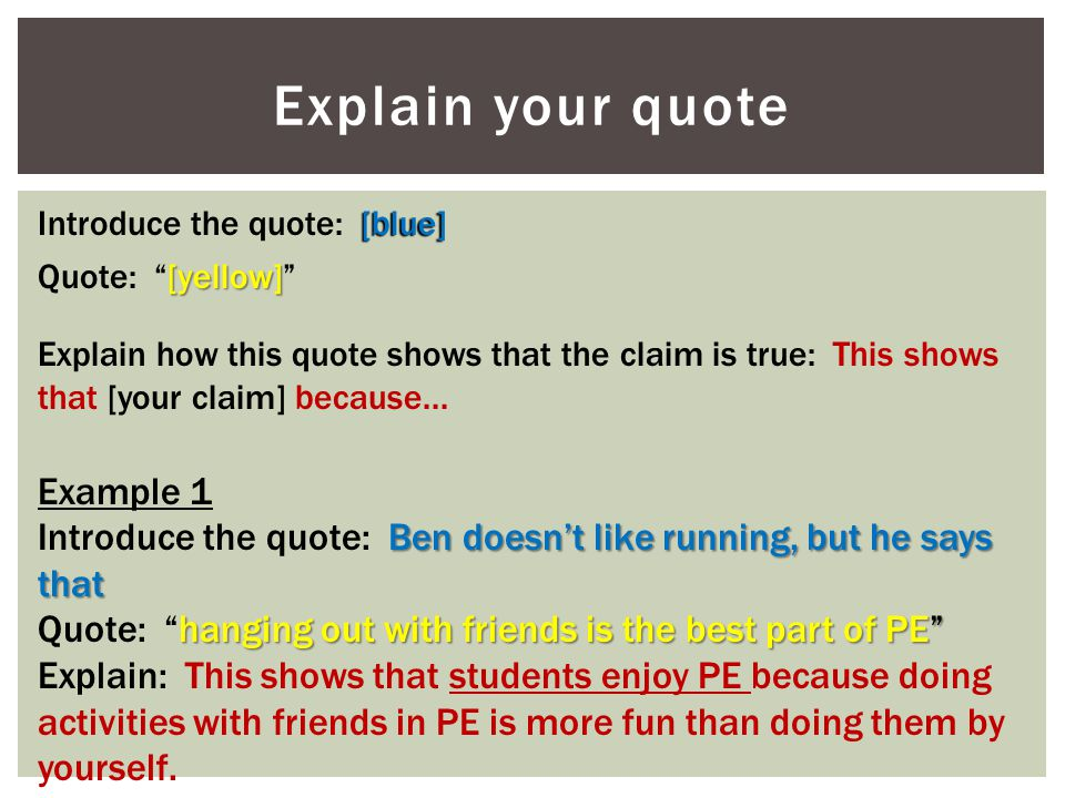 Explain your quote Example 1