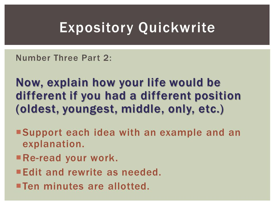 Expository Quickwrite