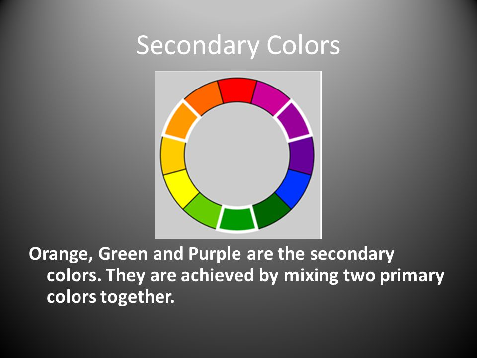Secondary Colors Orange, Green and Purple are the secondary colors.