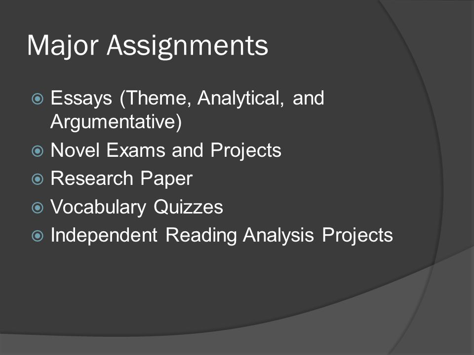 Major Assignments Essays (Theme, Analytical, and Argumentative)