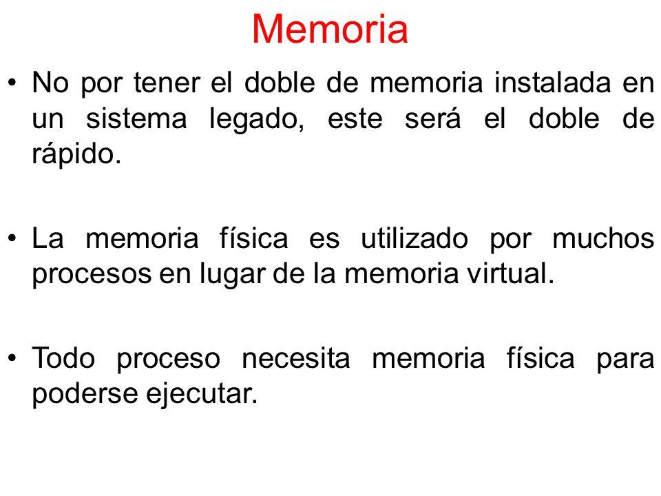Memoria No por tener el doble de memoria instalada en un sistema legado, este será el doble de rápido.