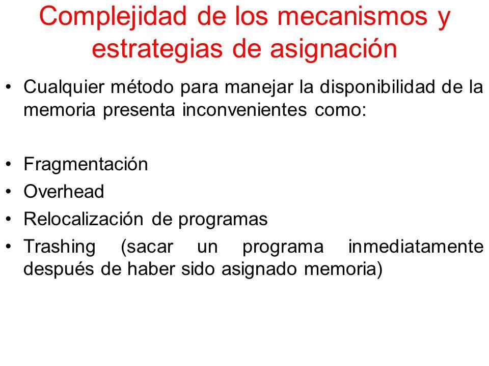Complejidad de los mecanismos y estrategias de asignación