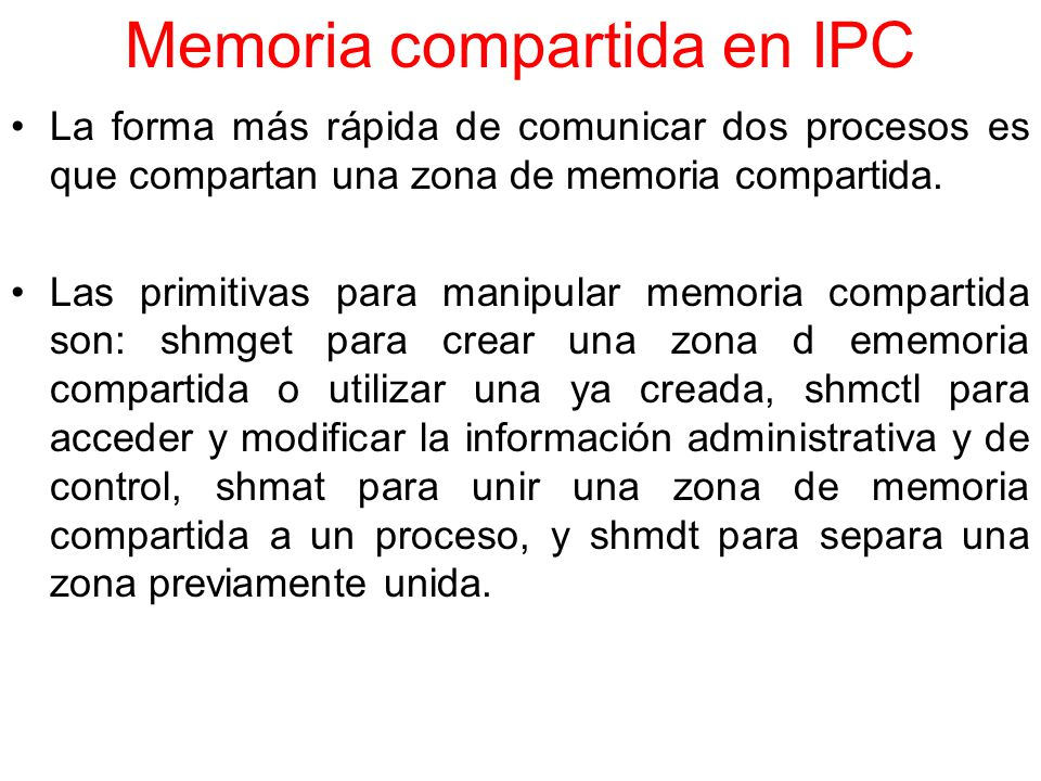 Memoria compartida en IPC