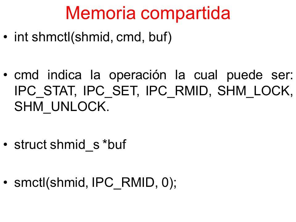 Memoria compartida int shmctl(shmid, cmd, buf)