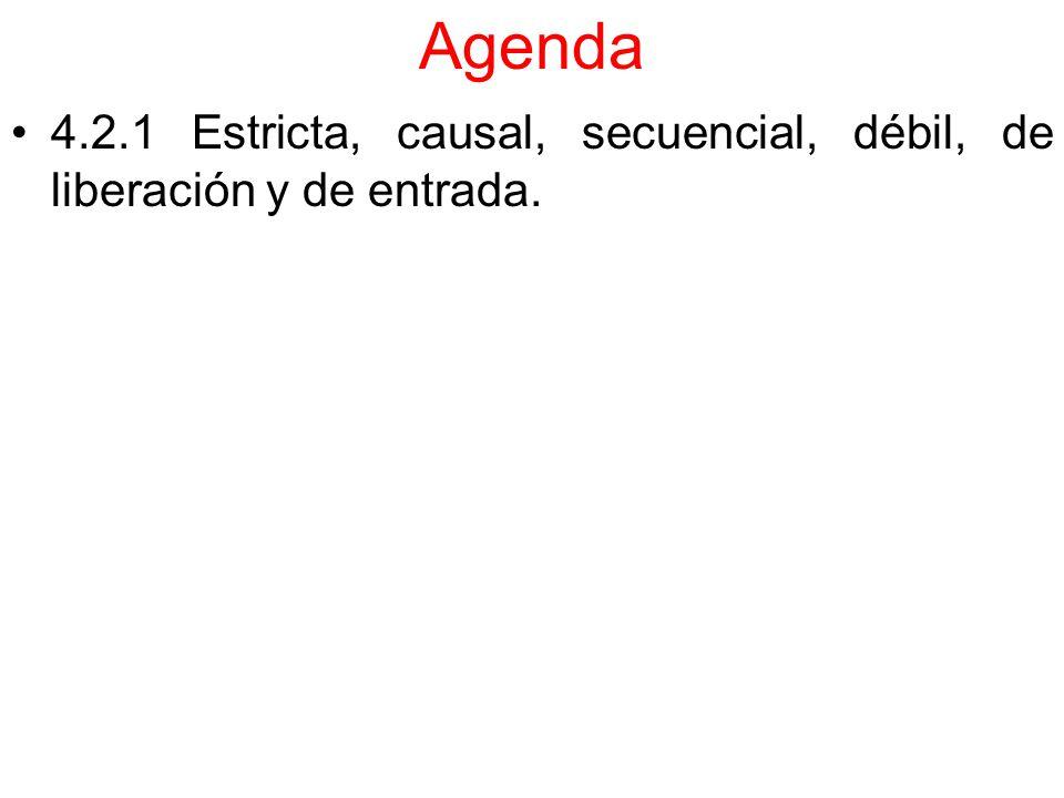 Agenda 4.2.1 Estricta, causal, secuencial, débil, de liberación y de entrada.