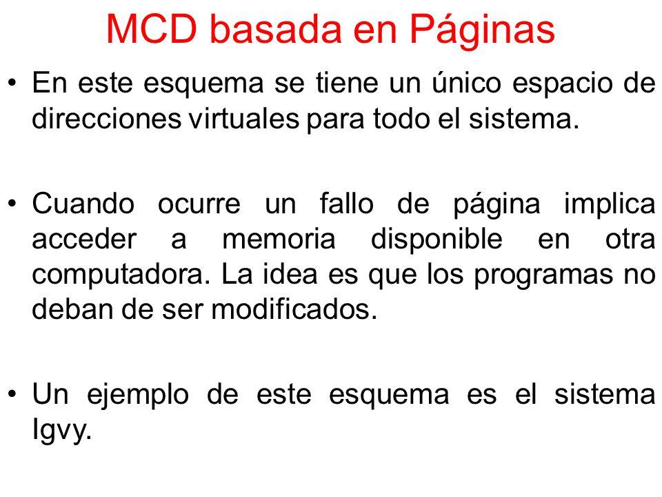 MCD basada en Páginas En este esquema se tiene un único espacio de direcciones virtuales para todo el sistema.