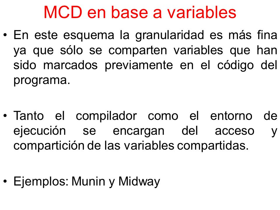 MCD en base a variables
