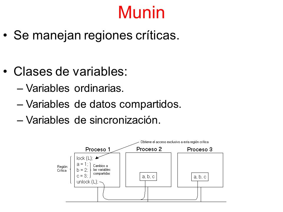 Munin Se manejan regiones críticas. Clases de variables: