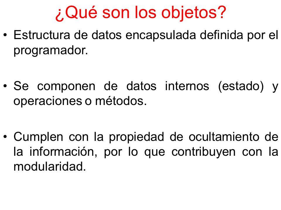 ¿Qué son los objetos Estructura de datos encapsulada definida por el programador. Se componen de datos internos (estado) y operaciones o métodos.