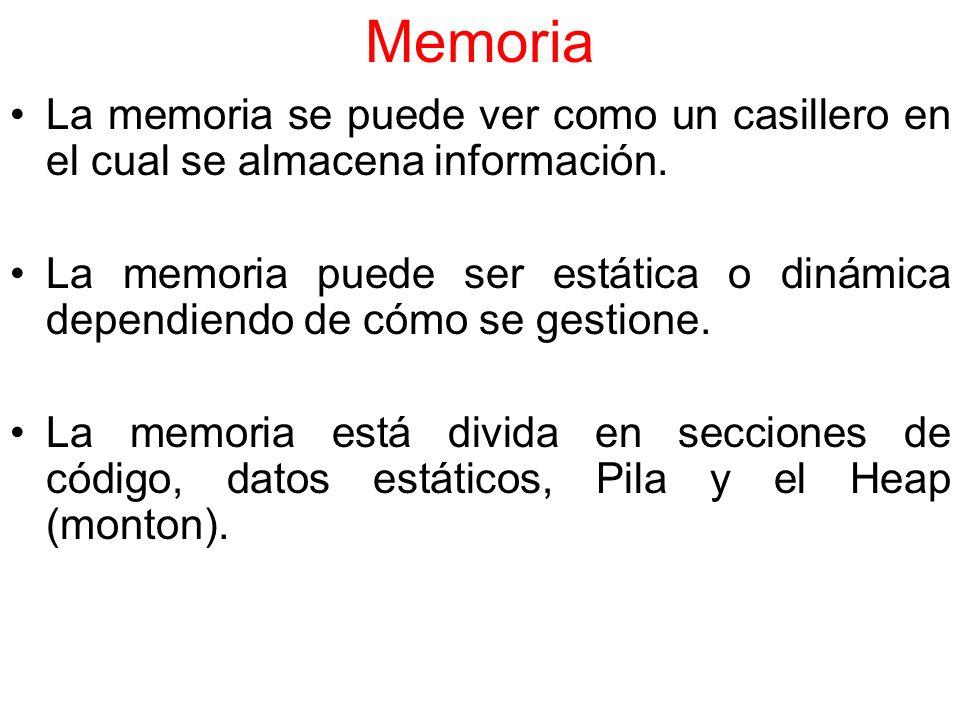 Memoria La memoria se puede ver como un casillero en el cual se almacena información.