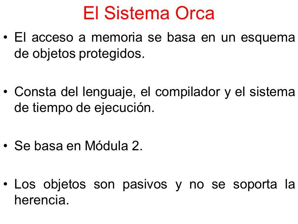 El Sistema Orca El acceso a memoria se basa en un esquema de objetos protegidos.