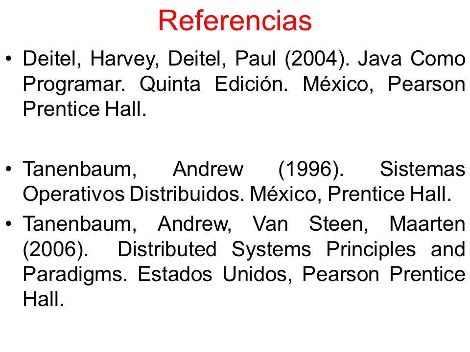 Referencias Deitel, Harvey, Deitel, Paul (2004). Java Como Programar. Quinta Edición. México, Pearson Prentice Hall.