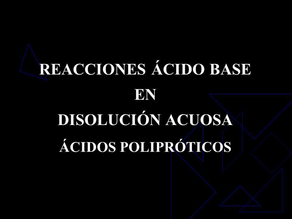 REACCIONES ÁCIDO BASE EN DISOLUCIÓN ACUOSA