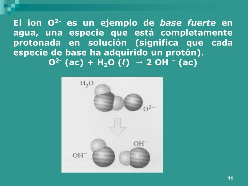 O2- (ac) + H2O (ℓ)  2 OH – (ac)