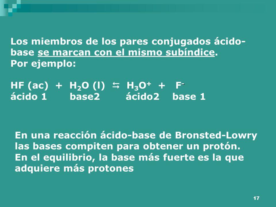 Los miembros de los pares conjugados ácido-base se marcan con el mismo subíndice.