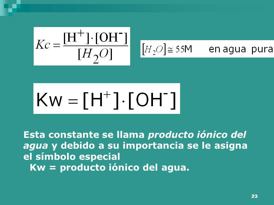 Esta constante se llama producto iónico del agua y debido a su importancia se le asigna el símbolo especial