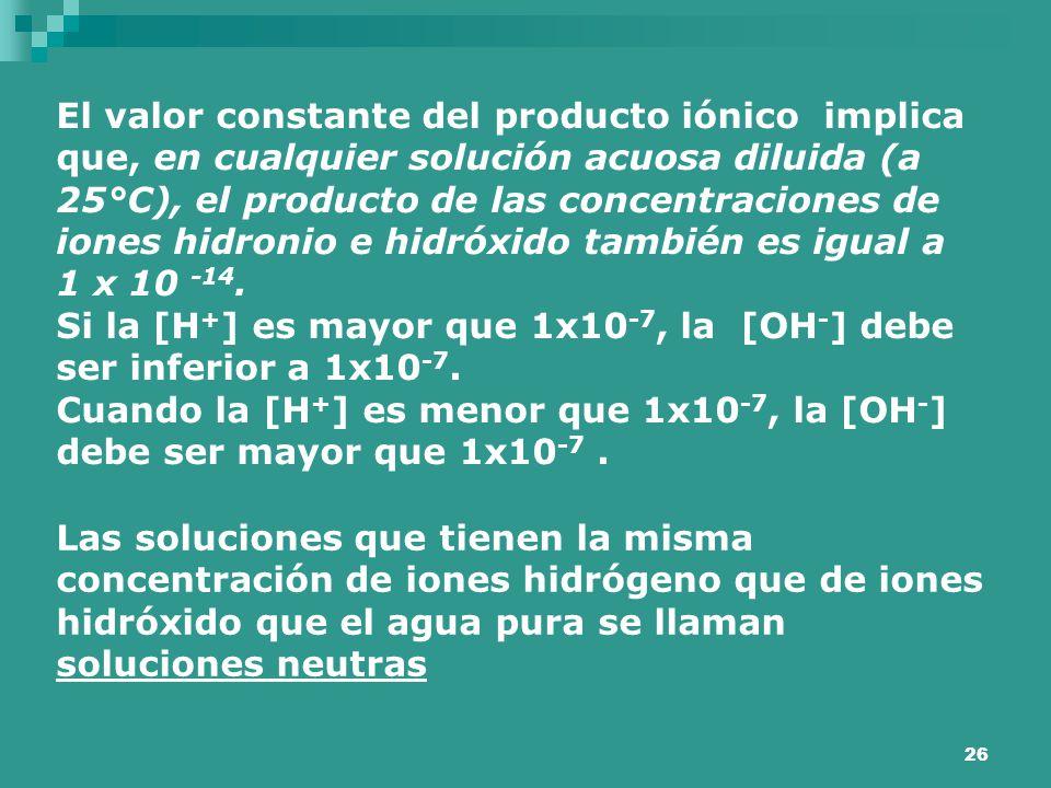 El valor constante del producto iónico implica que, en cualquier solución acuosa diluida (a 25°C), el producto de las concentraciones de iones hidronio e hidróxido también es igual a