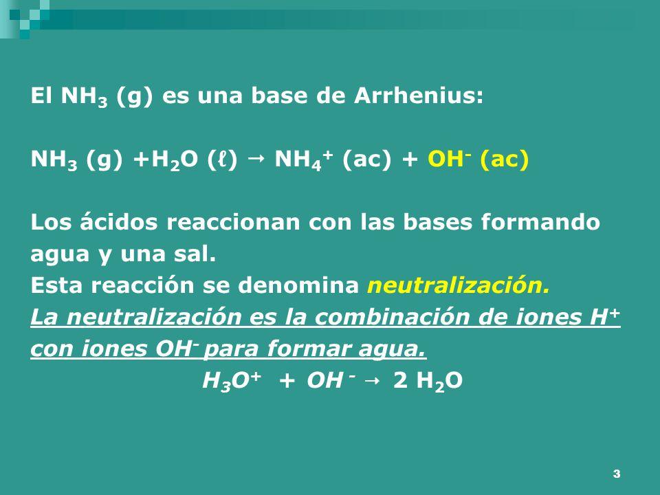 El NH3 (g) es una base de Arrhenius: