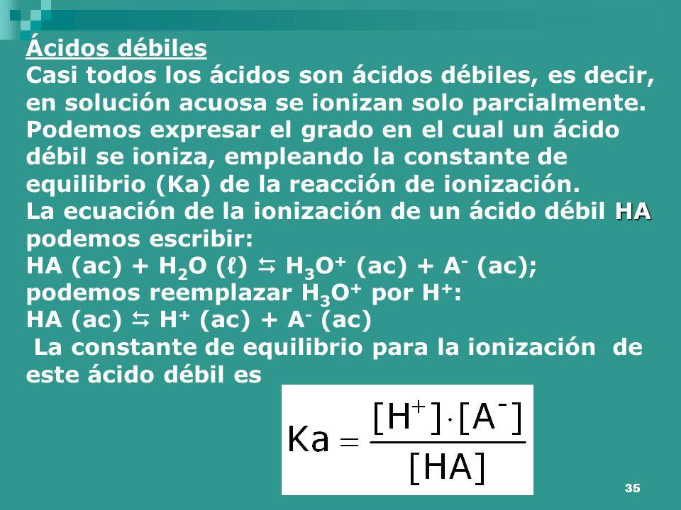 Ácidos débiles Casi todos los ácidos son ácidos débiles, es decir, en solución acuosa se ionizan solo parcialmente.