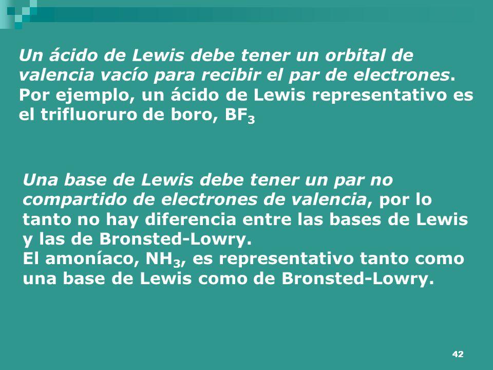 Un ácido de Lewis debe tener un orbital de valencia vacío para recibir el par de electrones. Por ejemplo, un ácido de Lewis representativo es el trifluoruro de boro, BF3