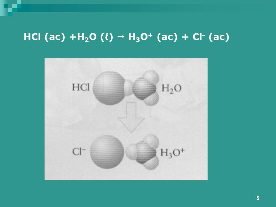 HCl (ac) +H2O (ℓ)  H3O+ (ac) + Cl- (ac)